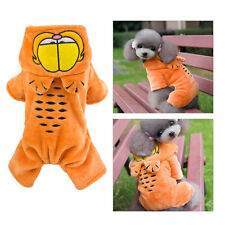 Warm Winter Dog Clothes Flannel Fleece Garfield Jumpsuit Small Pet Hooded Coat