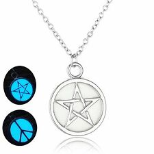 Peace Symbol or Star Sign Glow in Dark Charm Pendant Necklace Jewelry Ideal Gift