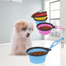 Folding Portable Travel Silicone Pet Dog Cat Water Food Feeder Bowl with Hook