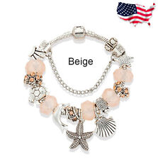 Fashion Diy Jewelry Beige Crystal Beads Bracelet for Women Antique Silver
