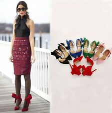 AU Size New Faux Suede Thin High Heel Women Shoes Bow Pointy Lady Sandals s924