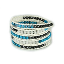 """Sier Five Layer Genuine Leather Wrap Bracelet With Natural Stone Beads 34""""-36"""""""