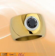 Stainless steel ring ''Blink'' 15mm golden polished with black Zirconia