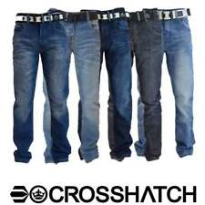 Mens Denim Jeans Crosshatch Bottoms Trousers FREE BELT Straight Leg Pants Casual