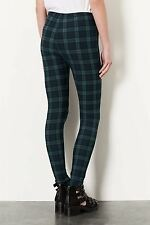 Topshop Women's Casual Black Watch Green Tartan Leggings
