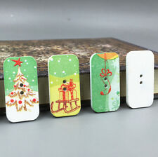 NEW Mixed Christmas pattern Buttons Wooden Sewing crafts scrapbooking 34mm