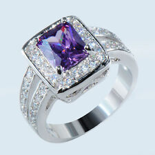 Purple Amethyst Band Women's 10Kt White Gold Filled Wedding Party Ring Size 6-10