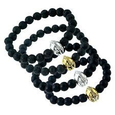 Fashion Mens Natural Gemstone Beads Helmet Charm Beaded Bracelet Cuff Bangle