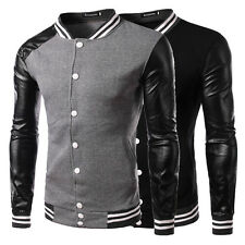 New Men's Stylish Slim Fit PU Leather College Baseball Jackets Coat Tops Outwear