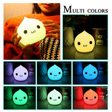 Colorful LED Silicone Night Light Change Soft Touch Lamp Baby Kids Bedroom Decor