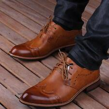 Mens Brogue Oxfords Wing Tip pointy toe Lace Up Dress formal Shoes Leather New Y