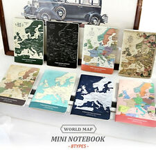 Mini Pocket Size Ruled Lined Note Paper Notepad Memo Notebook, Indigo World Map