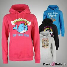 Ladies Branded David And Goliath Casual Large Graphic Print Hoody Top Size 10-16