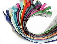 """Wholesale 10""""/25cm Assorted Mixed Colors Closed End Invisible Hidden Zippers"""