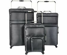 Set Of 3 Lightweight 4 Wheel Suitcases Black Travel Luggage Cabin Carry Hand Bag