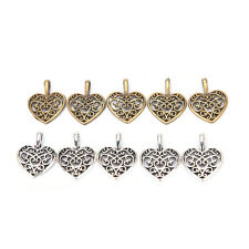 50 Pcs Tibetan Silver Bronze Filigree Heart Charms Pendants DIY Jewelry VV