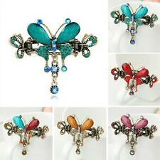 Rhinestone Bow Knot Retro Hair Clip Butterfly Crystal Hairpin