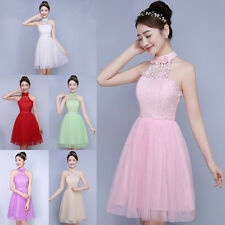 Women Lady Halter Lace Tulle Dress Wedding Bridesmaid Party Pageant Prom Gown