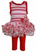 Bonnie Jean Valentine Tutu Legging Set Toddler Girls Outfit Red White size 2 New