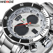 Weide Mens Quartz Analog Digital Backlight Calendar Day Sport Steel  Wrist Watch