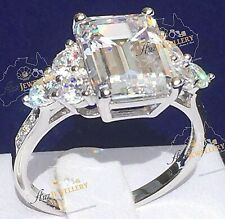 Luxury 6.8ct Emerald Cut Created Diamond Real 925 Sterlin Silver Engagement Ring