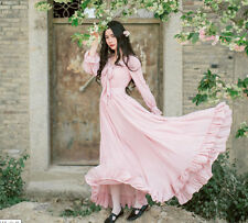 Vintage Gothic Lolita Dress Sweet Princess Dress Chinese Long Dress Costume Pink
