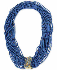 Betsey Johnson  Pave Snake Blue Seed Bead Multi Row Necklace   NWT