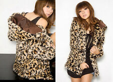 Lady`s Women Short Hairy Leopard Print Faux Fur Long Sleeved Hoodie Jacket Coat