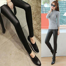 Fashion Women Sexy Black Faux Leather Punk Gothic Stretchy Long Pants Leggings