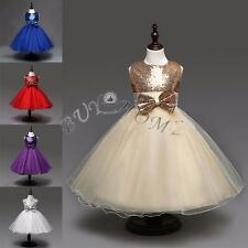 Flower Girl Princess Bow Dress Kids Party Pageant Wedding Bridesmaid Gown Dress