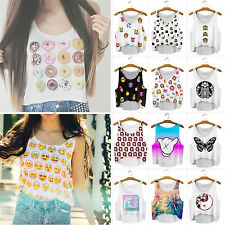 Womens Sleeveless Vest Tank Top Cartoon Summer Beach Casual Loose Blouse Shirt