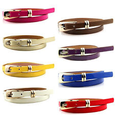 Fashion Women Candy Color Skinny Waist Belt Girl Thin Leather Narrow Waistband