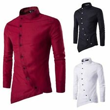 Mens Slim Fit Stylish Formal Dress Shirts Long Sleeve Casual Collar T-shirt Tops