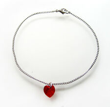 Sterling Silver & Crystal Love Heart Anklet with SWAROVSKI ELEMENTS - Siam Red