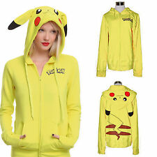 Pokemon Anime Jacket Cosplay Ears Tail Zip Hoody Sweatshirt Pikachu Hoodies Cute