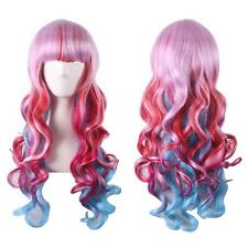 Harajuku Neat Bangs Pink Red Blue Long Curly Wavy Synthetic Full Wigs Cosplay