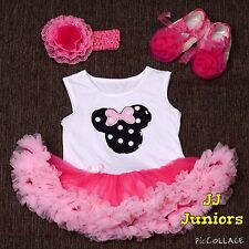 3 Piece Set (Onesie Headband Shoes) Baby Girl Minnie Mouse Pink Party Dress Tutu