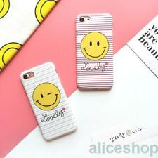 For iPhone 7 7 Plus 6 6S Plus Pretty Lovely Stripes Smiling Face Soft Case Cover