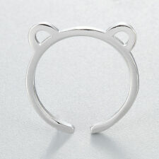 New Charm 925 Silver Cute Lovely Cat Ears Open Adjustable Ring For Women Jewelry