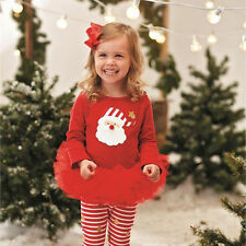 Toddler Baby Girls Christmas Claus Santa Dress Set Outfit Costume Xmas Clothes