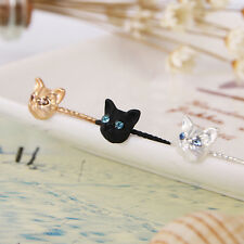 Exquisite Lovely Cute Cat Shape Rings Rhinestone Stud Ring Black Gold Silver