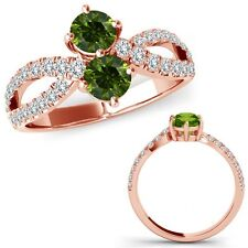 1 Carat Green Diamond Forever Us Two 2 Stone Infinity Fancy Ring 14K Rose Gold