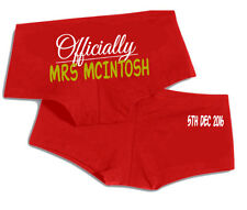 Officially Mrs your name wedding date personalised ladies boyshorts underwear