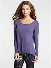 NEW WOMENS GUESS LONG SLEEVE MIX SCOOP KNIT SWEATER HIGH LOW IRIS PURPLE TOP