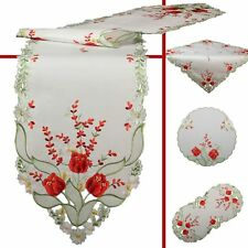 Red Tulip Flower Embroidery Table runner Tablecloth Doily Different sizes White
