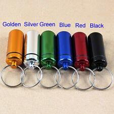 Waterproof Aluminum Key Chain Portable Drug Bottle Pill Box Container
