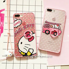 For iPhone 7 7 Plus 6S Cute Hello Kitty Bus Finger Rings TPU Case Cover+Lanyard