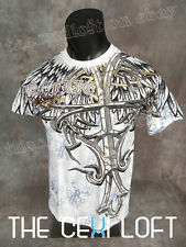 MENS KONFLIC GRAPHIC T-SHIRT Huge Tribal Cross Gold Foil Highlights WHITE MMA