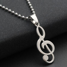 Stainless Steel Ball Chain Beads Chain Necklace Titanium  Music Notation Pendant