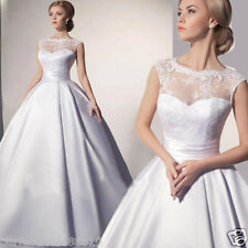 New Sheer Lace Wedding Dress Long Satin Ball Gow Bridal Gown Custom Size 6---18
